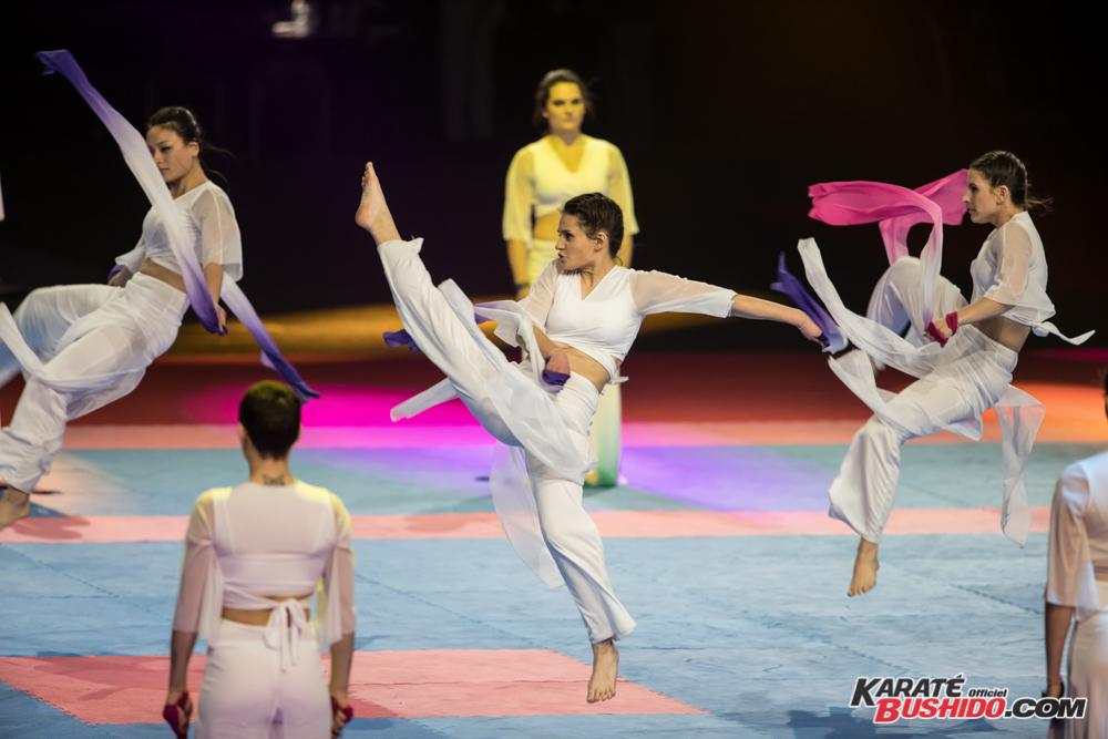 Démonstration gracieuse de danse du foulard chinois