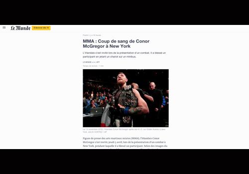 Article du Monde.fr sur Conor McGregor, actuellement au coeur d'une enquête à New-Yorl