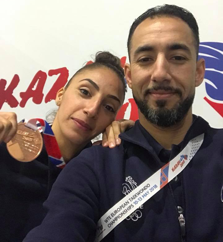Yasmina Aziez et Mehdi Bensafi, son entraineur.